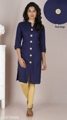 Kurtis & Kurtas Women's Solid Rayon Kurti  *Fabric* Rayon  *Sleeves* 3/4 Sleeves Are Included  *Size* M - 38 in, L - 40 in, XL - 42 in, XXL - 44 in  *Length* Up to 42 in  *Type* Stitched  *Description* It Has 1 Piece Of Kurti  *Pattern* Solid It Has 1 Piece Of  free mask  *Sizes Available* M, L, XL, XXL *    Catalog Name: Women'S Solid Rayon Kurtis CatalogID_132345 C74-SC1001 Code: 733-1079568-