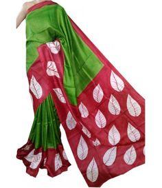 Green Hand Painted Tussar Silk Saree