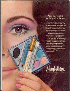 Maybelline vintage-advertising Had it, Luved it, Wish they still made it! All your eye make up in one box! 1970s Makeup, Vintage Makeup Ads, Retro Makeup, Vintage Beauty, Vintage Ads, Vintage Trends, Procter And Gamble, Maybelline Makeup, Beauty Ad