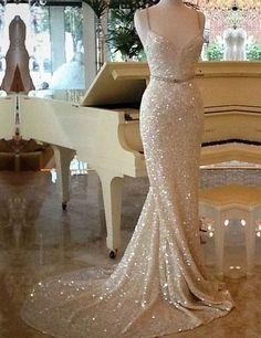 Elegant Spaghetti Straps Sequins Mermaid Champagne Evening Dress | Fashion | Scoop.it