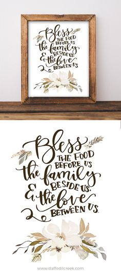 Bless the Food Before Us - Lettered Print Cute mealtime blessing for your kitchen or dining room walls! Pallet Signs, Wood Signs, Vinyl Projects, Projects To Try, Bless The Food, Dining Room Walls, Paper Frames, Before Us, Home Improvement Projects