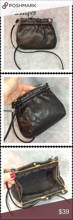 "💥 SALE 👜 Vintage Black Leather Purse 👜 Vintage Black Leather Purse 👜 Black Leather by ""FS Original"", long black strap that detaches for a cross body or a clutch. In immaculate condition. Would be a fabulous addition to a vintage purse collection. $35 Vintage Bags Mini Bags"
