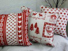 Chalet Des Alpes Piped Cushions. Three Red Print Designs. Christmas Cushions. Scandinavian/Nordic. $26.95, via Etsy.