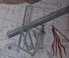 "Telescopium Herschelii. This obsolete constellation depicts the reflecting telescope with which William Herschel discovered the planet Uranus. It was devised by Maximilian Hell to honor Herschel. This version is that of Johann Bode in his atlas Uranographia, an accurate drawing of Herschel's telescope. Mona Evans, ""Obsolete Constellations"" http://www.bellaonline.com/articles/art300737.asp"