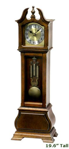 """This mantel clock is a small scaled Chiming Quartz Grandfather Clock that can fit anywhere. The clock plays Harmonic Westminster Chimes, Popular Melodies or switch it to Christmas melodies. The clock can play 24 hours a day or switch it to nighttime off 11:00 PM to 5:45 AM, adjust the volume or you may turn off the sound completely. Flip a switch on the back of the clock to select either: 4 x 4 Westminster, Westminster, 6 Popular Melodies , or 3 Christmas Melodies. Size: 19.6"""" tall 6.3""""…"""