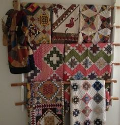Humble Quilts: Crazy Summer -- what a great idea for displaying quilts!