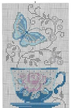 Cross-stitch Floral Teacup ... no color chart available, just use the pattern chart as your color guide..