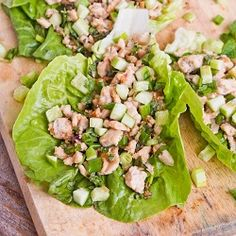 This Asian #Chicken Lettuce Wraps recipe is full of flavors from fresh herbs and Asian sauces. Perfect for a weeknight dinner as they take less than 30 minutes to make. #glutenfree #dairyfree