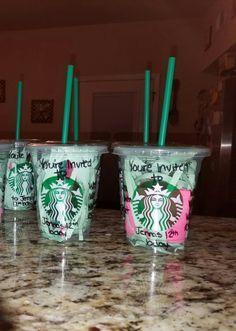 Starbucks birthday cup invitations
