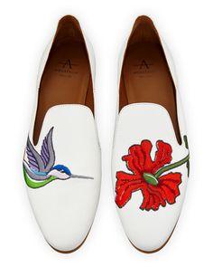 0653a38477c Aquatalia Emmaline Floral-Embroidered Leather Loafer