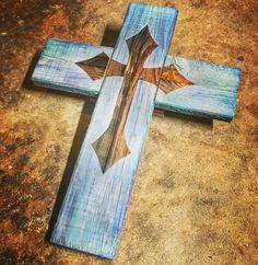 Decorative wood cross from scrap 2x4s.