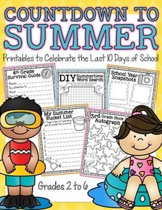 Countdown to Summer (End-of-the-Year Printables) for grades 2 to 6.