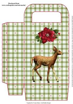 Beautiful Fawn Christmas Gift Bag on Craftsuprint designed by Toni Martin - A gift bag to co-ordinate with my mini kit cup637945_1894. Print out twice to make your gift bag. - Now available for download!