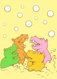 Hungry Hippos ACEO Print by JellySoupStudios on Etsy, $3.00