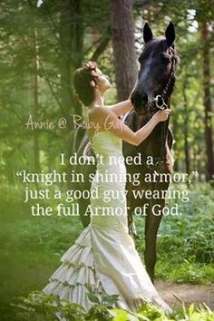I don't need a knight in shining armor, just a good guy wearing the full Armor of God.