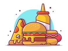 Catalyststuff | Freepik Cute Cartoon Food, Cute Food, Watercolor Illustration, Graphic Illustration, Cake Shop Design, Colorful Restaurant, Reference Photos For Artists, Vaporwave Wallpaper, Food Banner