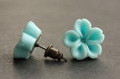 Aqua Blue Flower Earrings. Aqua Blue Earrings. Bronze Post Earrings. Innie Flower Button Jewelry. Stud Earrings. Handmade Jewelry. by StumblingOnSainthood from Stumbling On Sainthood. Find it now at http://ift.tt/1XIS2K6!