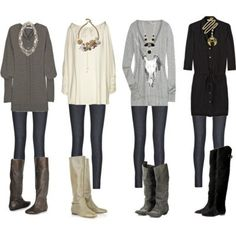 dress with tights and boots - Google Search