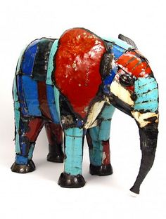 It's not too late to spruce up your garden for summer! Take home this metal elephant hand crafted from recycled materials in Zimbabwe and add a splash of color to your outdoor space! http://bit.ly/1lQnRdZ  LIKE if you'd love to have this little guy adorn your favorite summer spot!  #art #elephant #sustainable #AfricanArt #sustainableart #FairTrade #Africa #recycle #recycledart #Mbare