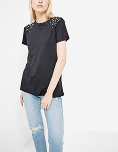 #stradivarius  T-shirt with faux pearls