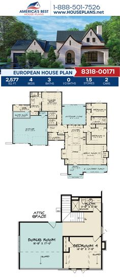 Plan 8318-00171 delivers a 1.5-story European home design with 2,577 sq. ft., 4 bedrooms, 3 bathrooms, a kitchen island, an open floor plan, and a bonus room. #europeanhome #bonusroom #architecture #houseplans #housedesign #homedesign #homedesigns #architecturalplans #newconstruction #floorplans #dreamhome #dreamhouseplans #abhouseplans #besthouseplans #newhome #newhouse #homesweethome #buildingahome #buildahome #residentialplans #residentialhome European Plan, European House Plans, Best House Plans, Dream House Plans, Tudor Homes, Thing 1, Open Floor, New Construction, Square Feet