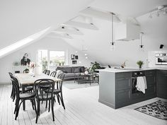Open plan attic living space