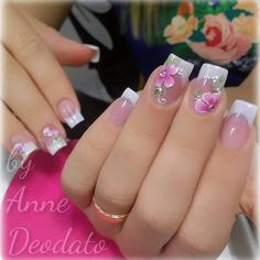 Photo shared by Clique Unhas on December 2018 tagging Image may contain: text that says 'annedeodato. French Nail Designs, Acrylic Nail Designs, Nail Art Designs, Cute Nails, Pretty Nails, My Nails, French Manicure Nails, French Nails, Nail Nail