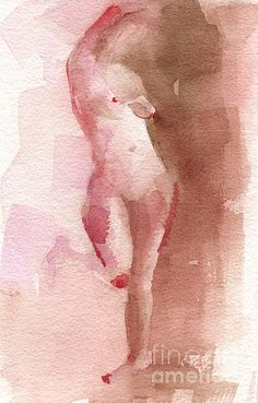 Standing Nude Figure Red Brown Magenta - art print from an original watercolor painting. Unframed, framed prints and canvas art for sale from $37. © Beverly Brown. www.beverlybrown.com