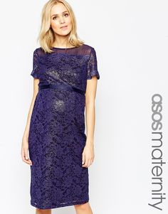 ASOS Maternity Bodycon Dress In Lace With Chiffon