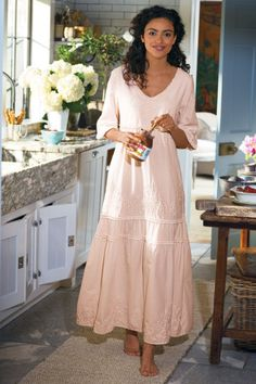Anastasia Gown - Tiered Cotton Night Gown, Long Night Gown, Long Sleeve Gown & chocolate, for the night every women needs some quiet. Long Sleeve Gown, Soft Surroundings, Pajamas Women, Look Chic, Comfortable Outfits, Loungewear, Night Gown, Cool Outfits, Clothes For Women