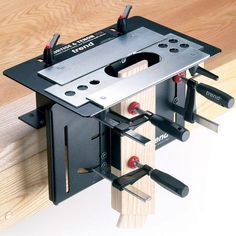 Simply clamp lumber vertically against the angle bar to rout the tenon #woodworkingtools