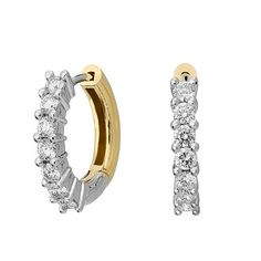 Diamond Hoop Earrings in 18kt Yellow and White Gold