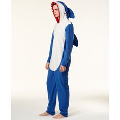 Bioworld Men's Shark Onesie Costume (£21) ❤ liked on Polyvore featuring men's fashion, men's clothing and men's costumes