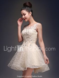 A-Line Princess Fit & Flare Illusion Neckline Short / Mini Satin Tulle Cocktail Party Homecoming Dress with Beading Appliques Lace by CHQY 2017 - $49.99