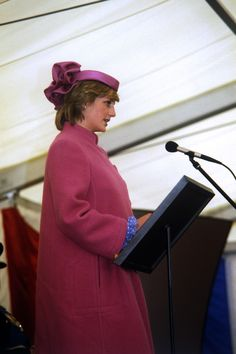 April 7, 1982: Princess Diana addresses the crowd as she opens the new SONY factory at Bridgend, Mid Glamorgan, Wales. The new factory will manufacture colour TV tubes for Sony's nearby TV manufacturing plant.