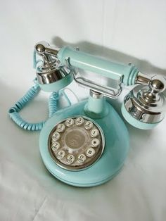 Vintage telephone in a nice baby blue color.