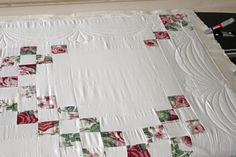 Quilting in the border — Stitched in Color Longarm Quilting, Free Motion Quilting, Irish Chain Quilt, Quilt Border, Pink Gingham, Diamond Quilt, Soft And Gentle, Custom Quilts, Floral Border