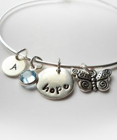 Look at this #zulilyfind! Sterling Silver & Birthstone 'Hope' Butterfly Initial Bangle #zulilyfinds