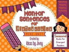 Mentor Sentences for Emergent Readers- SEASONAL! Fall and winter books