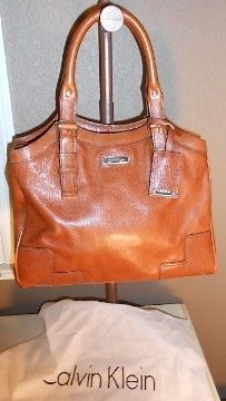 Auth Calvin Klein Tan Leather Satchel Bag Purse Handbag | $65 on eBay