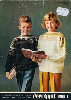 Bilderesultat for genser sjusjøen Diy Tv, Norwegian Knitting, Baby Barn, Mittens Pattern, Knitting For Kids, Vintage Knitting, Vintage Sweaters, Color Combinations, Vintage Christmas