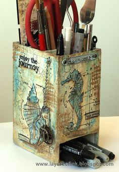 Layers of ink - Nautical Blueprints Caddy Tutorial http://layersofink.blogspot.com/2014/06/nautical-blueprints-caddy-tutorial.html