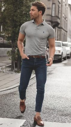 Polo Shirt Outfits, Polo Shirt Style, Polo Outfit, Mens Polo T Shirts, Flannel Outfits, Plaid Flannel, Mens Sweater Outfits, Blue Shirt Outfit Men, Blue Jeans Outfit Men