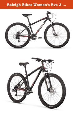 """Raleigh Bikes Women's Eva 3 Mountain Bike, 17""""/Medium, Black. Get outside for some fresh air this weekend with your new two-wheeled companion, eva 3. From town to trail and back again, this entry-level women's mountain bike is equally at home on the dirt as it is on the pavement. Built with the beginner rider in mind, but adding in features found on more expensive bikes, the eva 3 makes sure you have a great bike without breaking the bank. The eva 3 offers comfort and control with a low..."""
