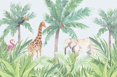 Introduce an engaging art piece into your child's nursery with our Watercolor Jungle Nursery Wall Mural. This wallpaper features a jungle theme that is suitable décor for either gender.