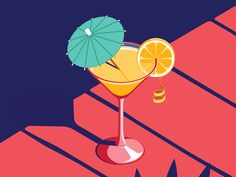 Isometric Cocktail by Coen Pohl on Dribbble Illustration Isometric Cocktail Isometric Art, Isometric Design, Digital Illustration, Graphic Illustration, Graphic Art, Malika Fabre, Don Du Sang, Cocktail Illustration, Posca