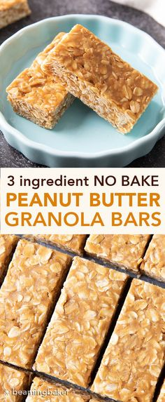 3 Ingredient No Bake Peanut Butter Granola Bars (GF): this homemade peanut butter granola bars recipe so EASY! The best oatmeal peanut butter granola bars recipe without honey, that taste like honey roasted peanuts. Easy Cookie Recipes, Easy Desserts, Baking Recipes, Cake Recipes, Dessert Recipes, Easy No Bake Recipes, Snacks Recipes, Egg Recipes, Pizza Recipes