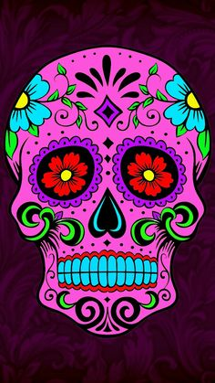 Sugar Skull Wallpaper, Sugar Skull Artwork, Sugar Skull Painting, Mexican Skulls, Mexican Art, Caveira Mexicana Tattoo, Sugar Scull, Skull Pictures, Day Of The Dead Skull