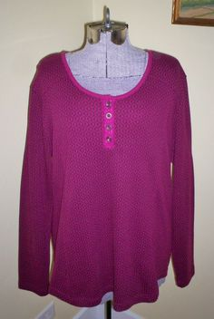"""Women's Size XL NorthCrest Henley Top Shirt Tunic 46"""" Bust Cotton Poly Excellent #NorthCrest #Henley #Casual"""