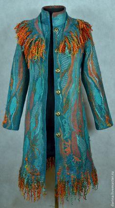 """Купить пальто валяное """"Бирюзовая мечта- 2"""" - темно-бирюзовый, пальто валяное, пальто из войлока"""